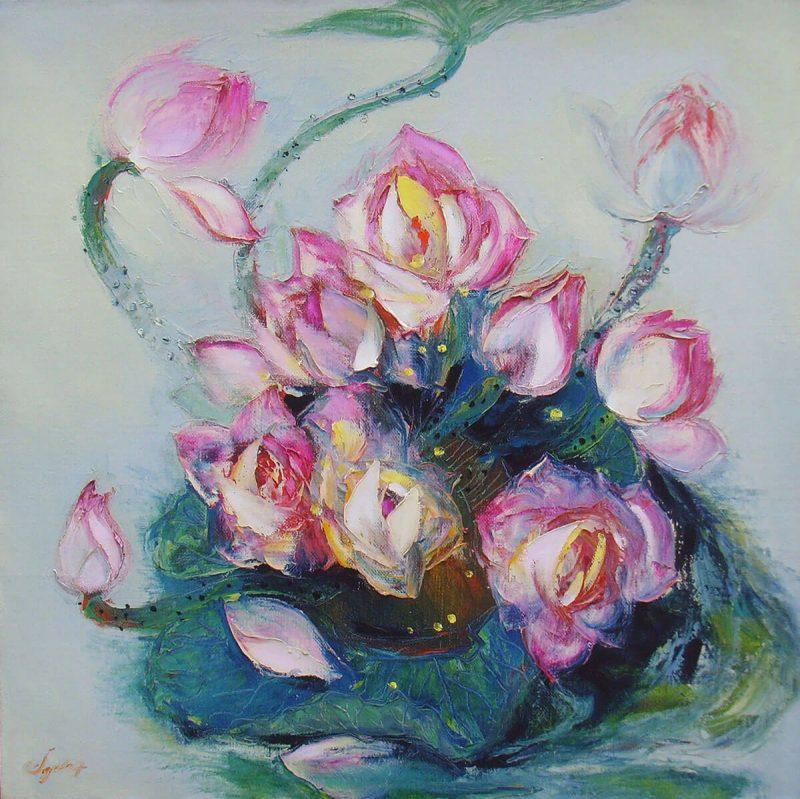 Lotus VII - Vietnamese Oil Paintings of Flower by Dang Dinh Ngo