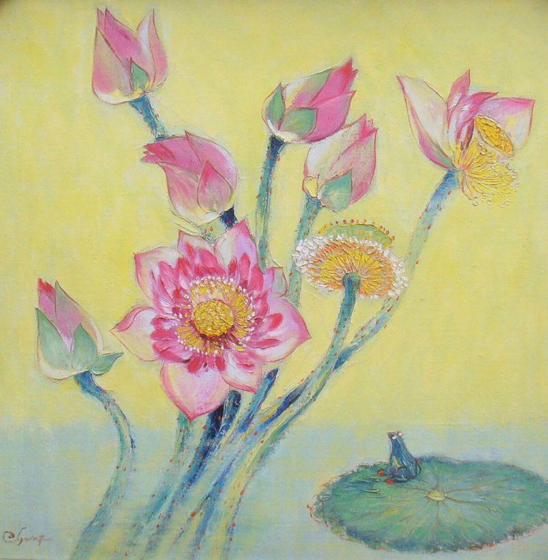 Lotus VIII - Vietnamese Oil Paintings of Flower by Dang Dinh Ngo