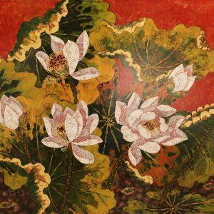 Lotus XII - Vietnamese Lacquer Paintings Flower by Artist Tran Thieu Nam
