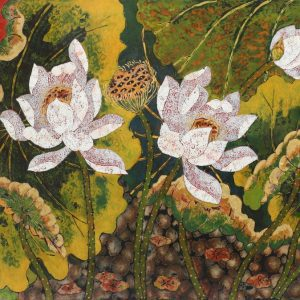 Lotus XIII - Vietnamese Lacquer Paintings Flower by Artist Tran Thieu Nam