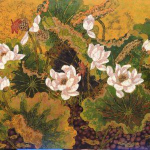 Lotus XIV - Vietnamese Lacquer Paintings Flower by Artist Tran Thieu Nam
