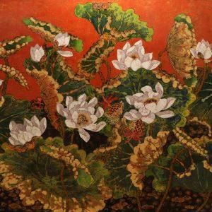 Lotus XVI - Vietnamese Lacquer Paintings Flower by Artist Tran Thieu Nam