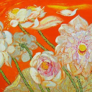 Lotus-pond-in-Summer-75-x-150-cm