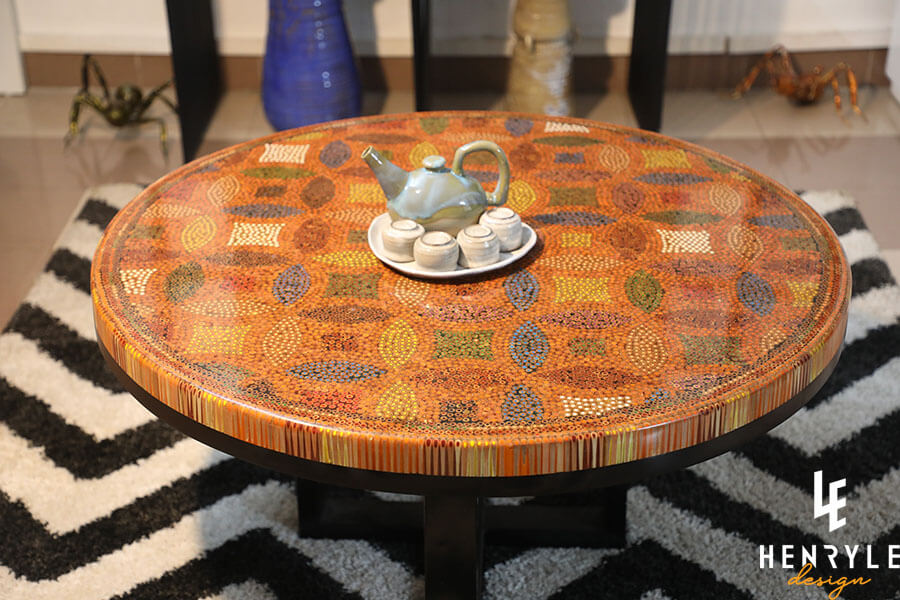 Lucky Coins Colored Pencil Coffee Table IV 4