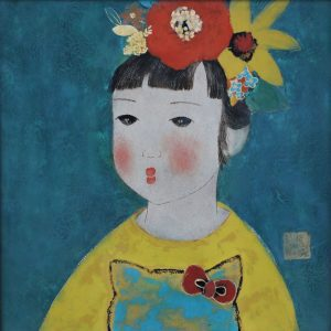 Miu - The Little Girl - Vietnamese Lacquer Paintings by Artist Dang Hien