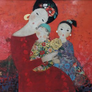 Mother's Embrace - Vietnamese Lacquer Paintings by Artist Dang Hien