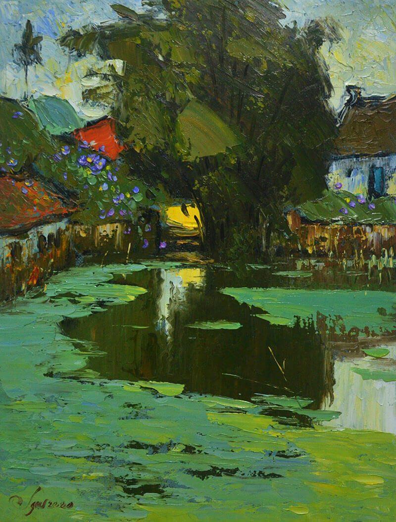 Neighborhood's Pond Bridge - vietnamese oil paintings