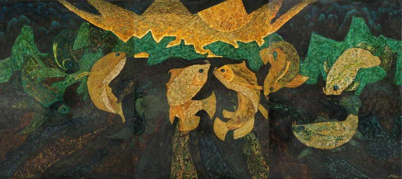 Nine Carps Gazing at the Moon - Vietnamese Lacquer Painting by Artist Ngo Ba Cong