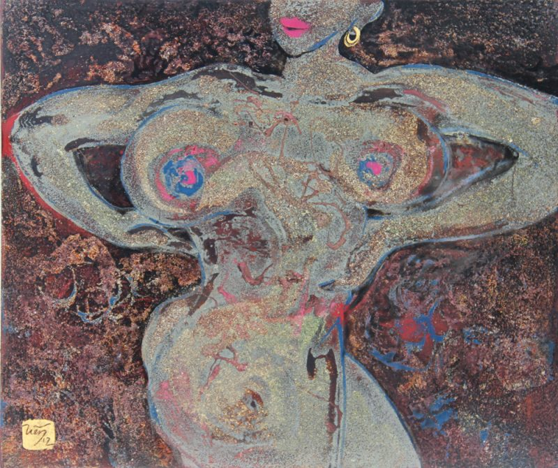 Nude I - Vietnamese Lacquer Painting on Wood by Artist Trieu Khac Tien