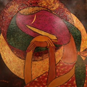 October's Moon Vietnamese Lacquer Painting by Artist HT Phuc
