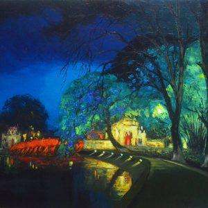 Oil Painting - Lake Sound at Night