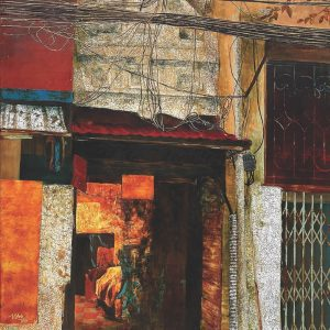 Old Street - Vietnamese Lacquer Painting by Artist Trinh Que Anh