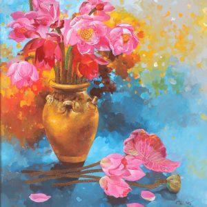 Pink Lotus - Vietnamese Oil Paintings Flower by Artist An Dang