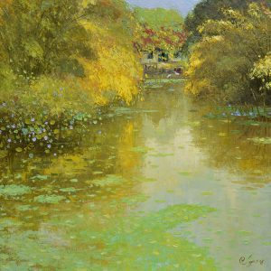 Pond in Autumn II - landscape paintings in dang dinh ngo