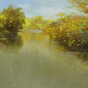 Pond in Autumn III - landscape paintings in dang dinh ngo