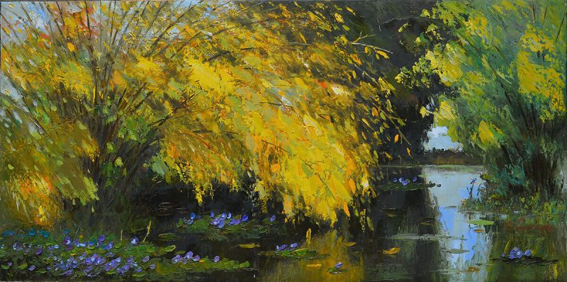 Pond in Autumn - landscape paintings in dang dinh ngo