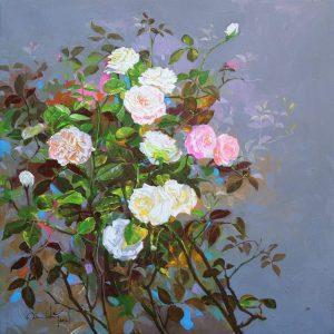 Roses I - Vietnamese Oil Paintings Flower by Artist An Dang