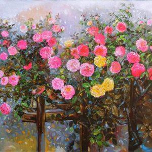 Roses II - Vietnamese Oil Paintings Flower by Artist An Dang