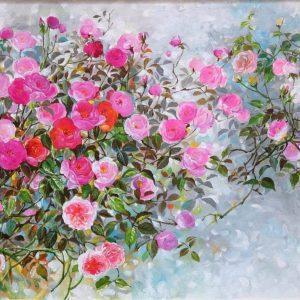 Roses III - Vietnamese Oil Paintings Flower by Artist An Dang