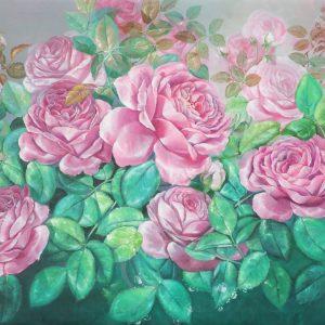Roses IX - Vietnamese Oil Paintings Flower by Artist An Dang