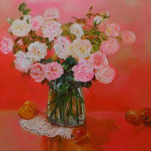Roses VI - Vietnamese Oil Paintings Flower by Artist An Dang