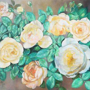 Roses VII - Vietnamese Oil Paintings Flower by Artist An Dang