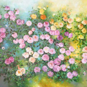 Roses VIII - Vietnamese Oil Paintings Flower by Artist An Dang