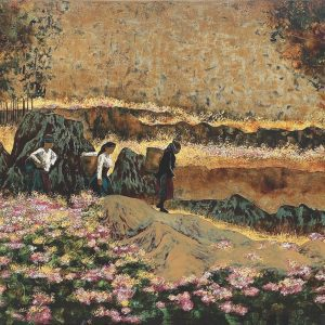 Season of Buckwheat Flowers - Vietnamese Lacquer Painting by Artist Trinh Que Anh
