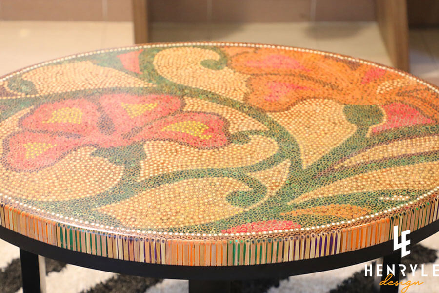 Single Curves Colored-Pencil Coffee Table 12