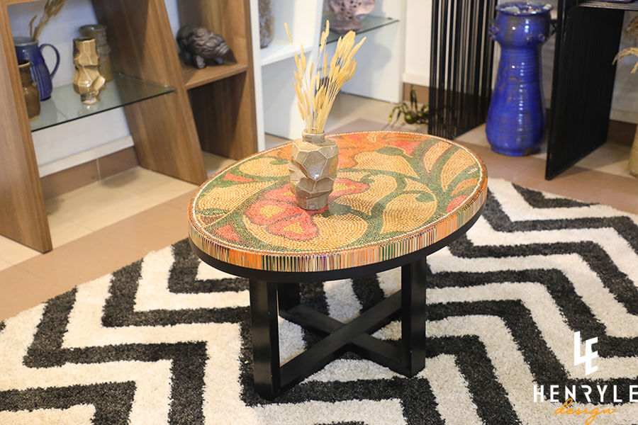 Single Curves Colored-Pencil Coffee Table 13