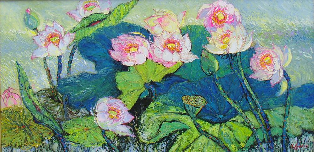 (Sold)-Lotus-pond-in-Spring—75.150cm