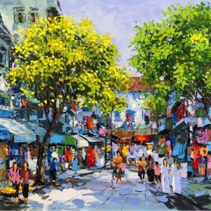Spring comes to Hanoi - acrylic paintings