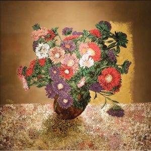 Still Life Chrysanthemum - Vietnamese Lacquer Painting by Artist Trinh Que Anh