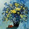 Still Life Daisies - Vietnamese Oil Painting Flower by Artist Dang Dinh Ngo