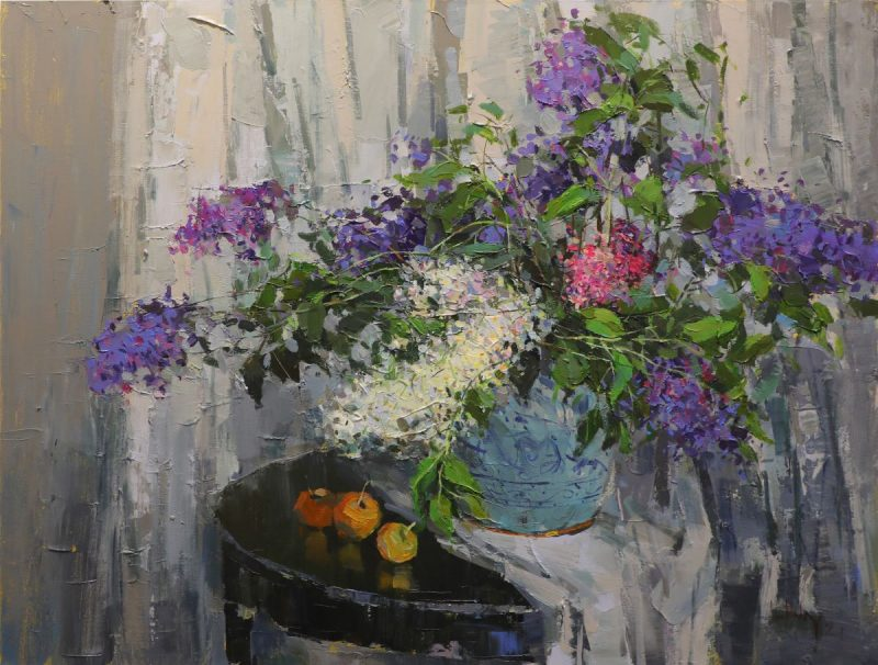 Still Life II - Vietnamese Oil Paintings of Flowers by Artist Le Huong