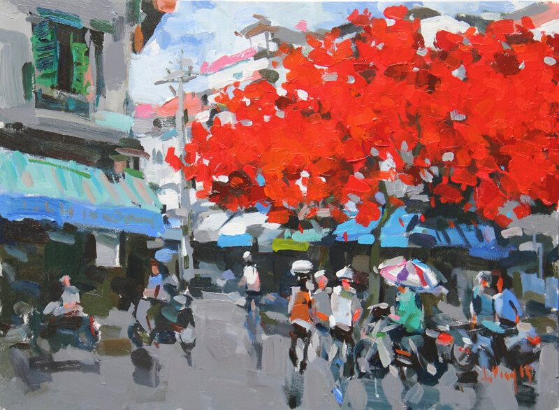Summer in Hanoi Street Corner, Best Vietnam Art Gallery