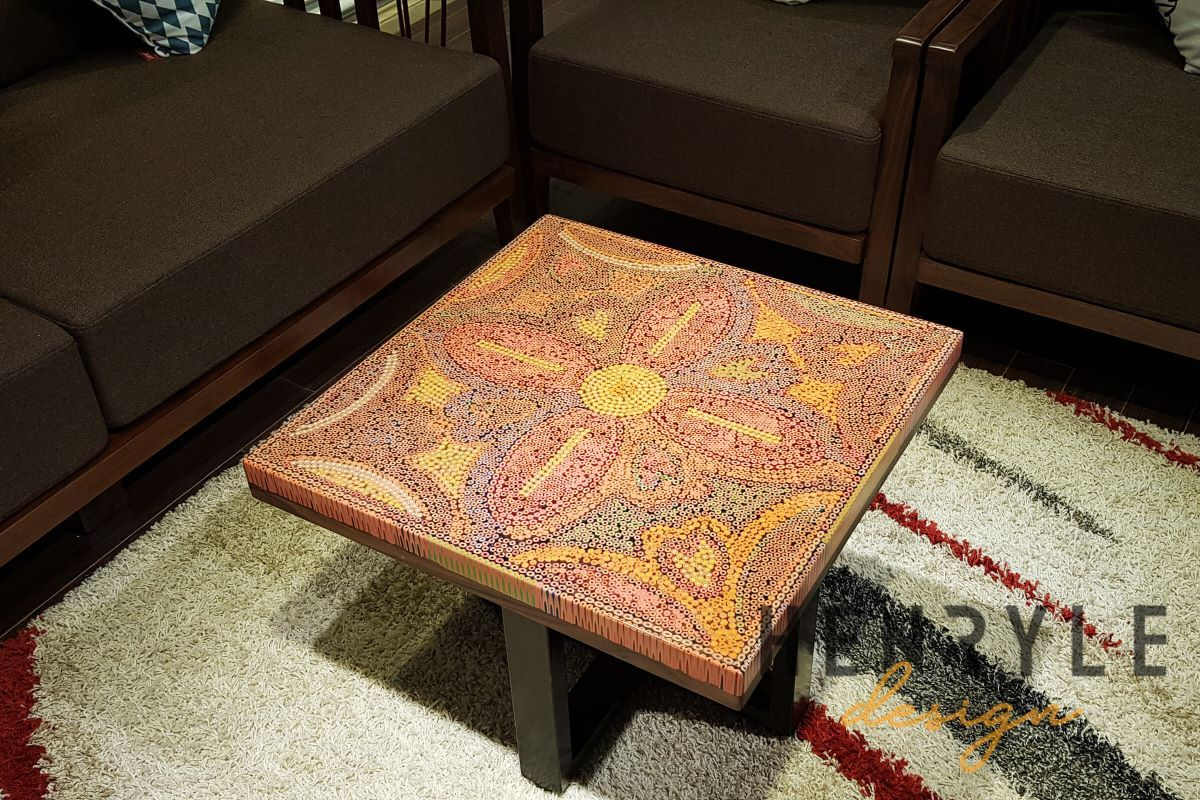 The Jungle Flame Colored-Pencil Coffee Table