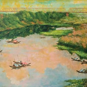 The Red River - Vietnamese Lacquer Painting by Artist Nguyen Xuan Viet