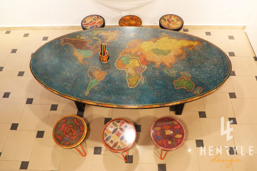 The World Map Colored Pencil Coffee Table 1