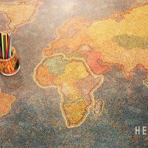 The World Map Colored Pencil Coffee Table 2