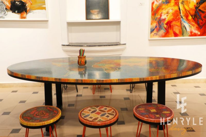 The World Map Colored Pencil Coffee Table 3
