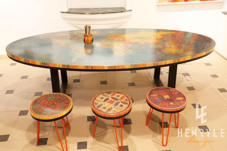 The World Map Colored Pencil Coffee Table 4