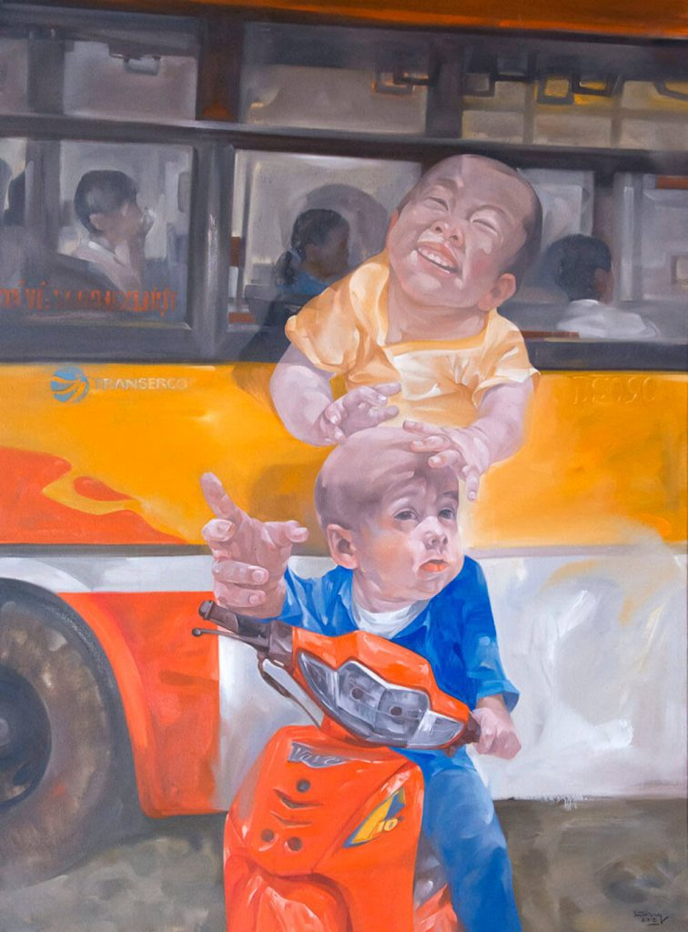 The bus stop, oil on canvas, Vietnam art gallery