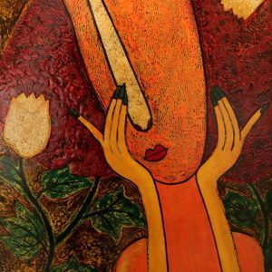 Under the Moon I - Vietnamese Lacquer Painting by Artist HT Phuc