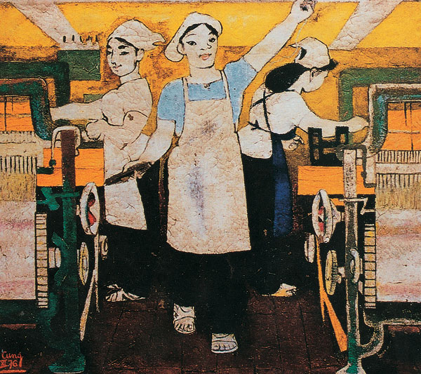 Vietnam Most Famous Paintings - After Work, Ladies Please Come to the Meeting to Test the Skilled Workers
