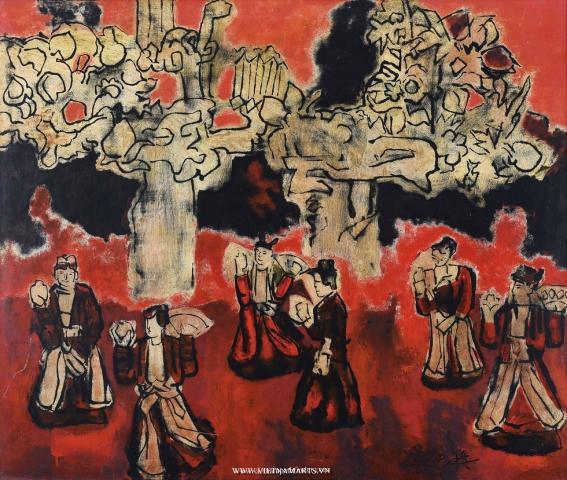 Vietnam Most Famous Paintings - Ancient Dance