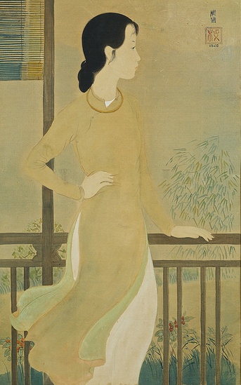 Vietnam Most Famous Paintings - Elegant Lady Overlooking the Balcony