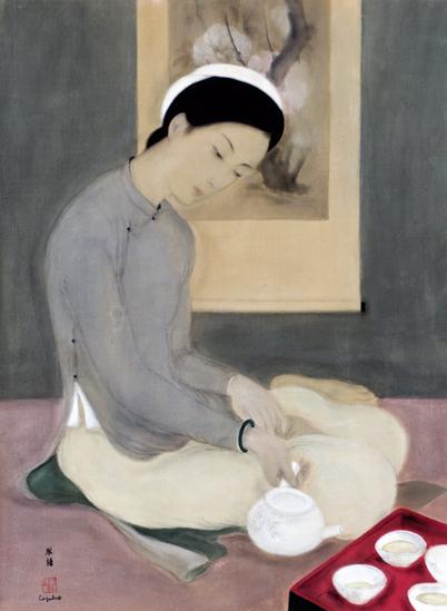 Vietnam Most Famous Paintings - Elegant Lady Pouring Tea
