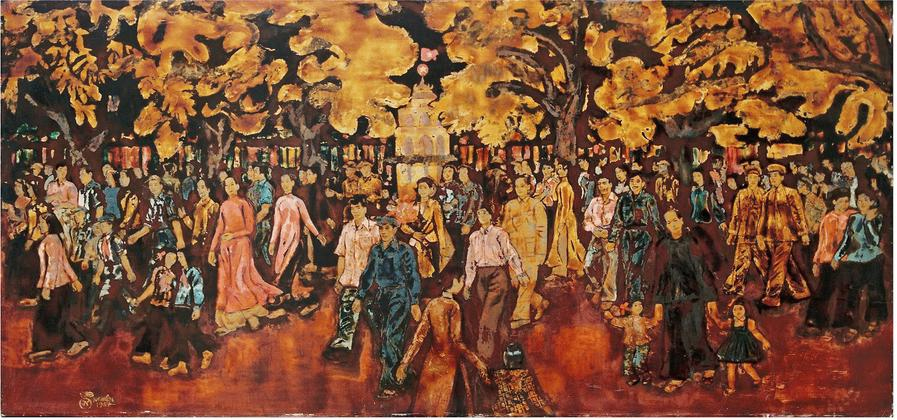 Vietnam Most Famous Paintings - Spring in the Hoan Kiem Lake