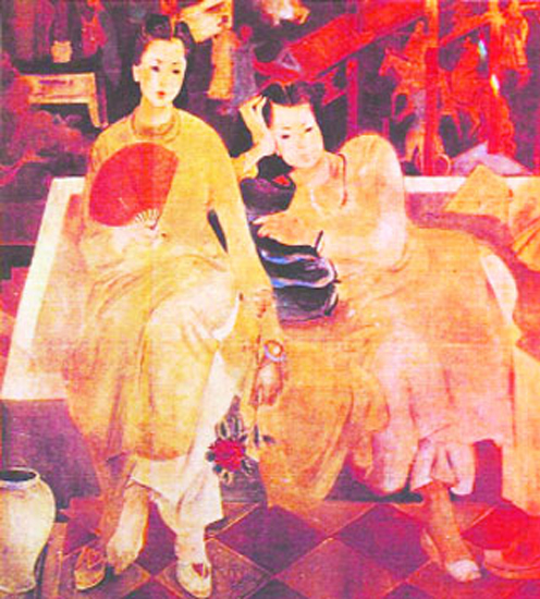 Vietnam Most Famous Paintings - Two Ladies in front of the Folding Screen